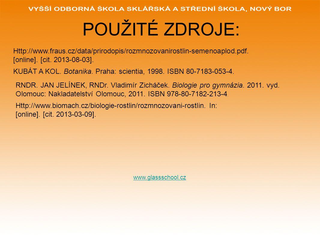 POUŽITÉ ZDROJE: Http://www.fraus.cz/data/prirodopis/rozmnozovanirostlin-semenoaplod.pdf. [online]. [cit. 2013-08-03].